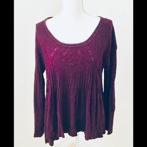 Free People Plum Lace and Cotton HiLo Top